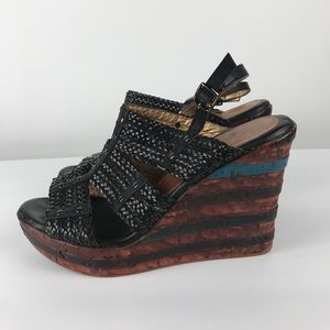 Elite by Corkys Black Straw Wedge Heels Size 9.5